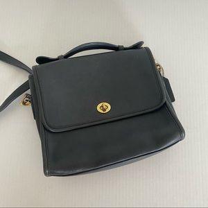 Vintage Coach Black Leather Court Cross Body Bag